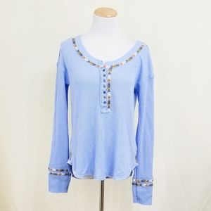 Free People Rainbow thermal top light blue long M